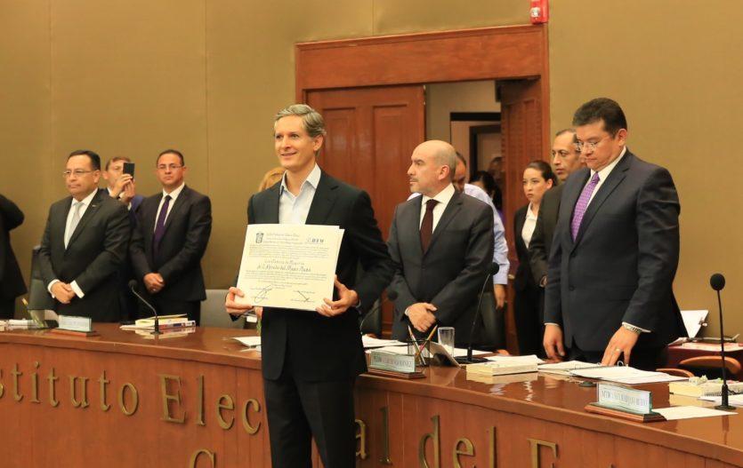 Declara IEEM validez de la elección a gobernador y entrega Constancia de Mayoría a Alfredo Del Mazo