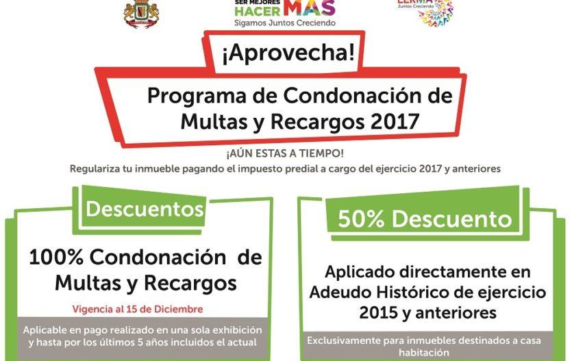 Ayuntamiento de Lerma realiza campaña de condonación de multas y recargos 2017