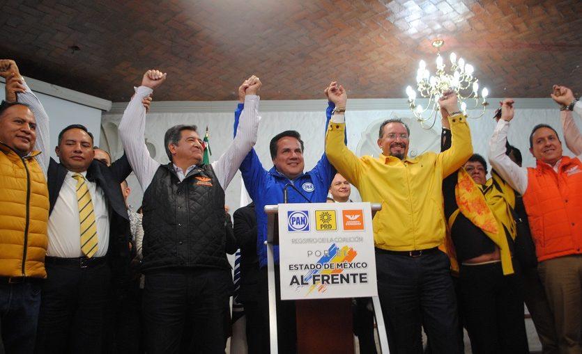 Municipios y distritos de la coalición que presentó PAN, PRD, y MC en el Edomex