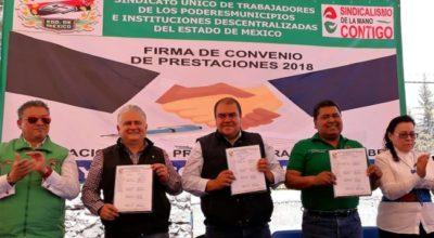 Firman convenio de prestaciones ayuntamiento de Huehuetoca con el SUTEYM